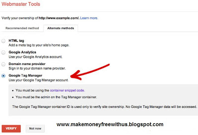 Blogger Tips Verify Site in Webmaster Tools Using Google Tag Manager