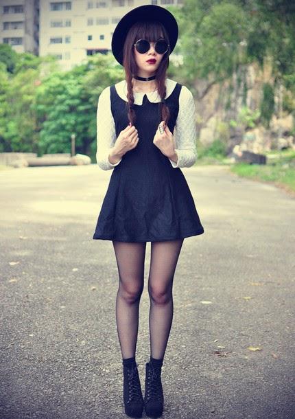 Black dress and combat boots