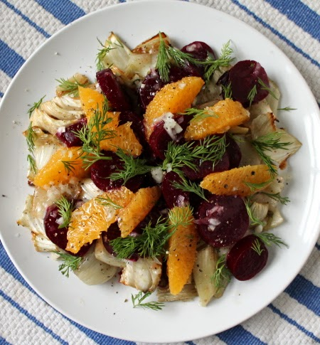 Roasted beet and fennel salad with orange and dill