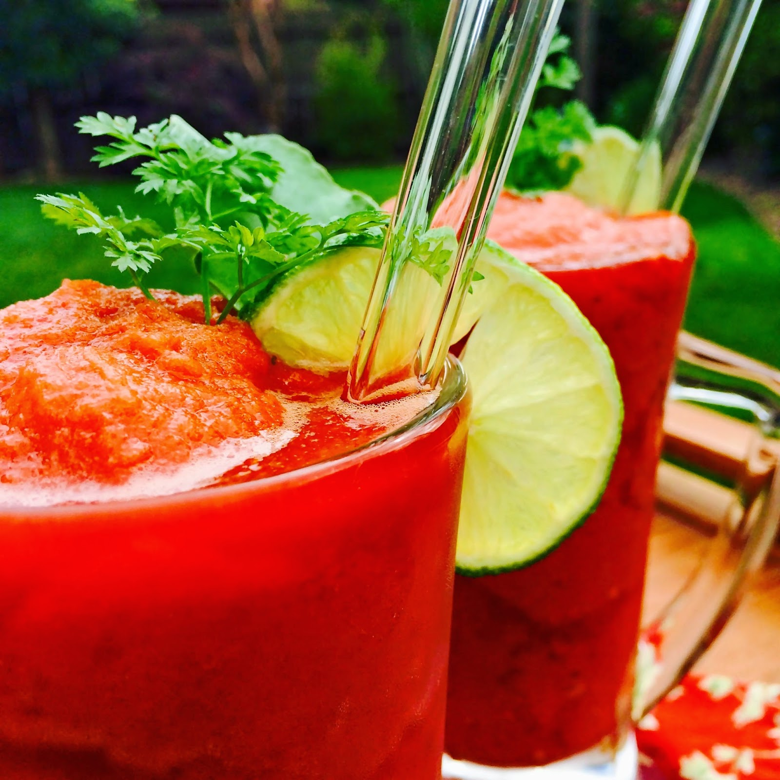 tomato, glass straw, beverage, smoothie, savory, recipe