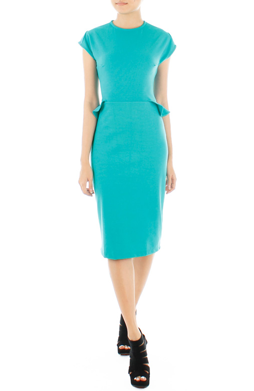 Victoria Winged Peplum LUXE Dress – Brilliant Turquoise