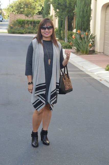 Loft Stripe Sweater Dress, Banana Republic Drapey Vest