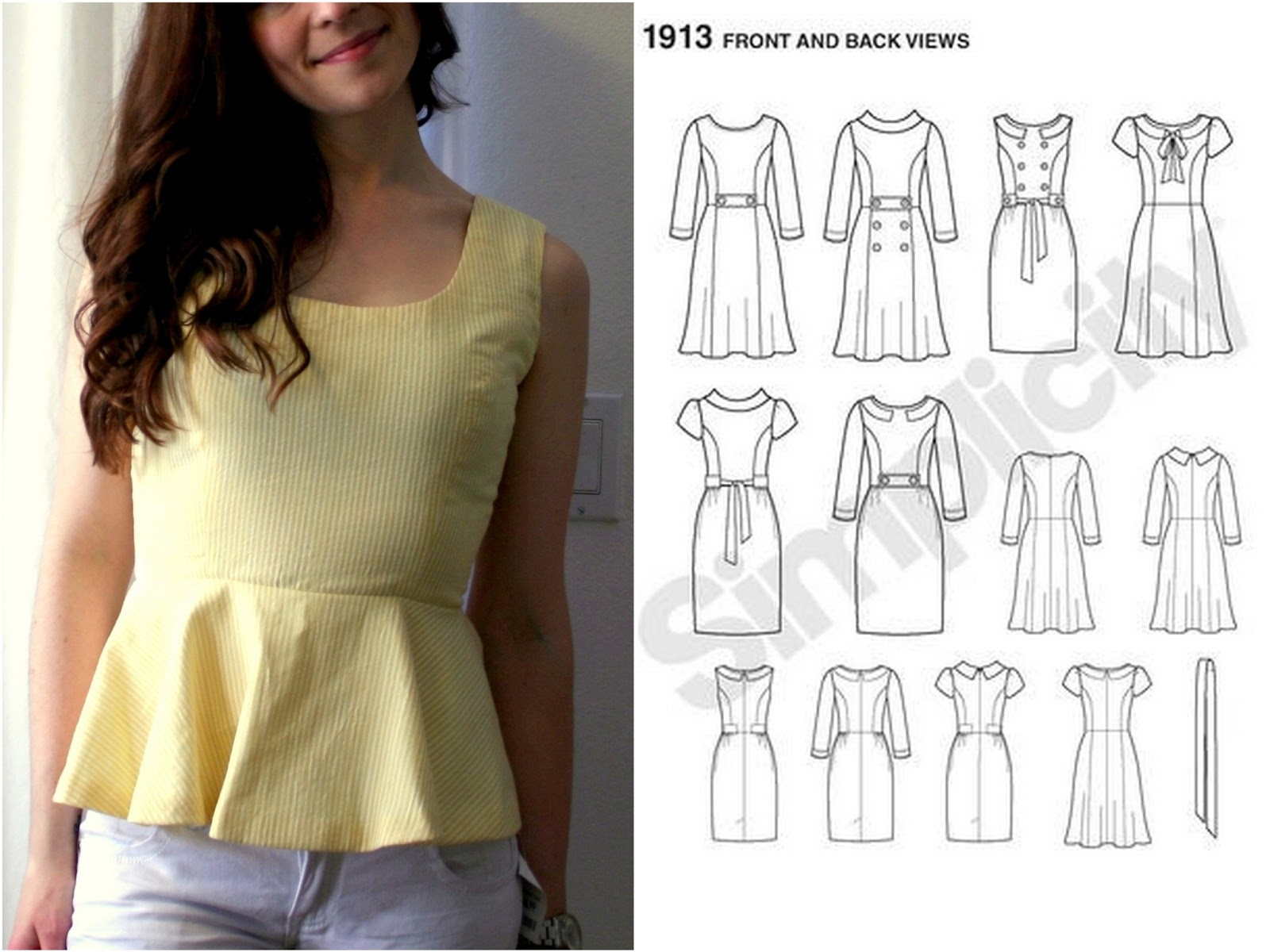How to make a peplum top out of any dress pattern! Two ways ...