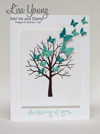 Stampin' Up! Sheltering Tree stamp set with tiny blue butterflies in flight. Sympathy or thinking of you card.