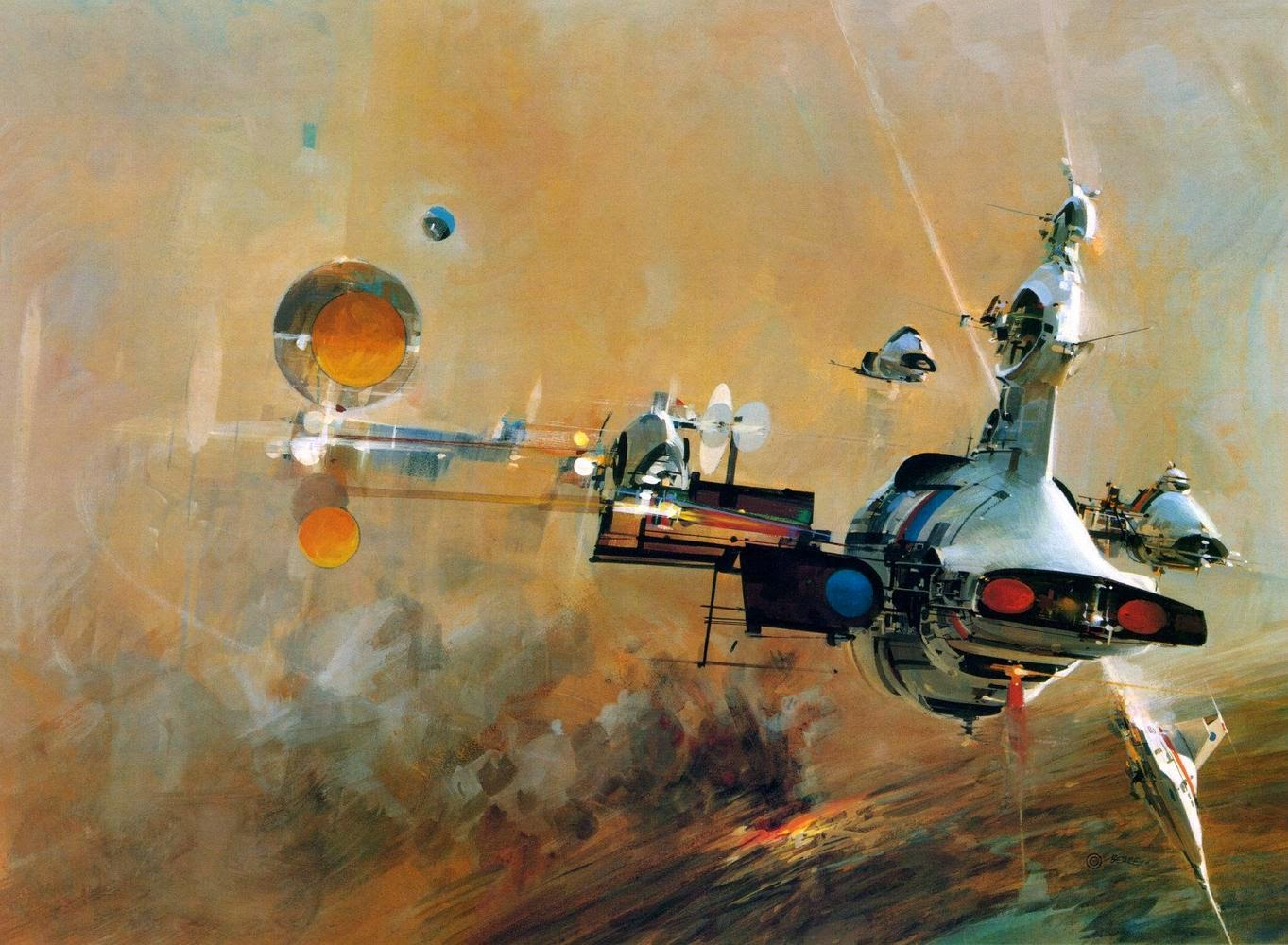 John Berkey pintura naves espaciales