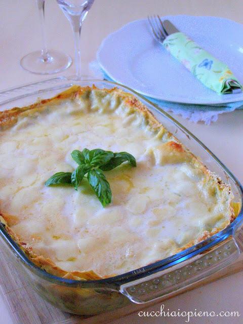 Lasanha aos quatro queijos e pinoli