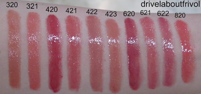swatch Esprique Mellow Forming Rouge Color BE320, BE321, RD420, RD421, RD422, RD423, RO620, RO621, RO622, PK820