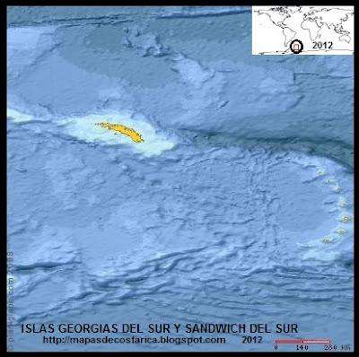 ISLAS GEORGIAS DEL SUR Y SANDWICH DEL SUR , Antartida, (PLANIGLOBE)