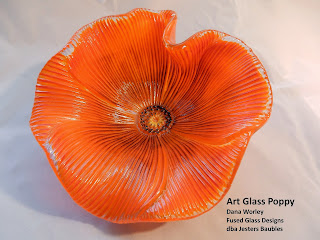 Orange fused glass poppy