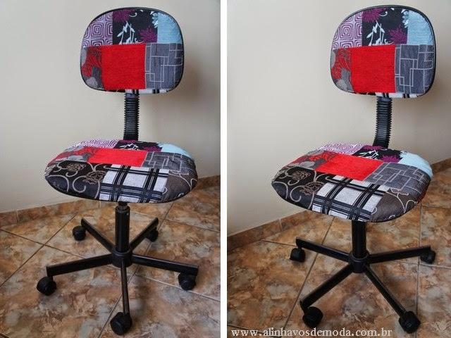 A nova cadeira multicolorida com padrão patchwork.