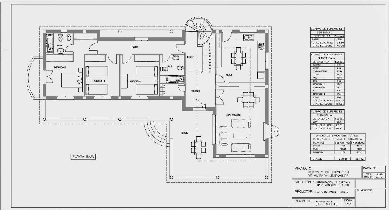 Rc i e s gran v a alicante proyecto 10 planos 4 y 5 for Mobiliario para planos
