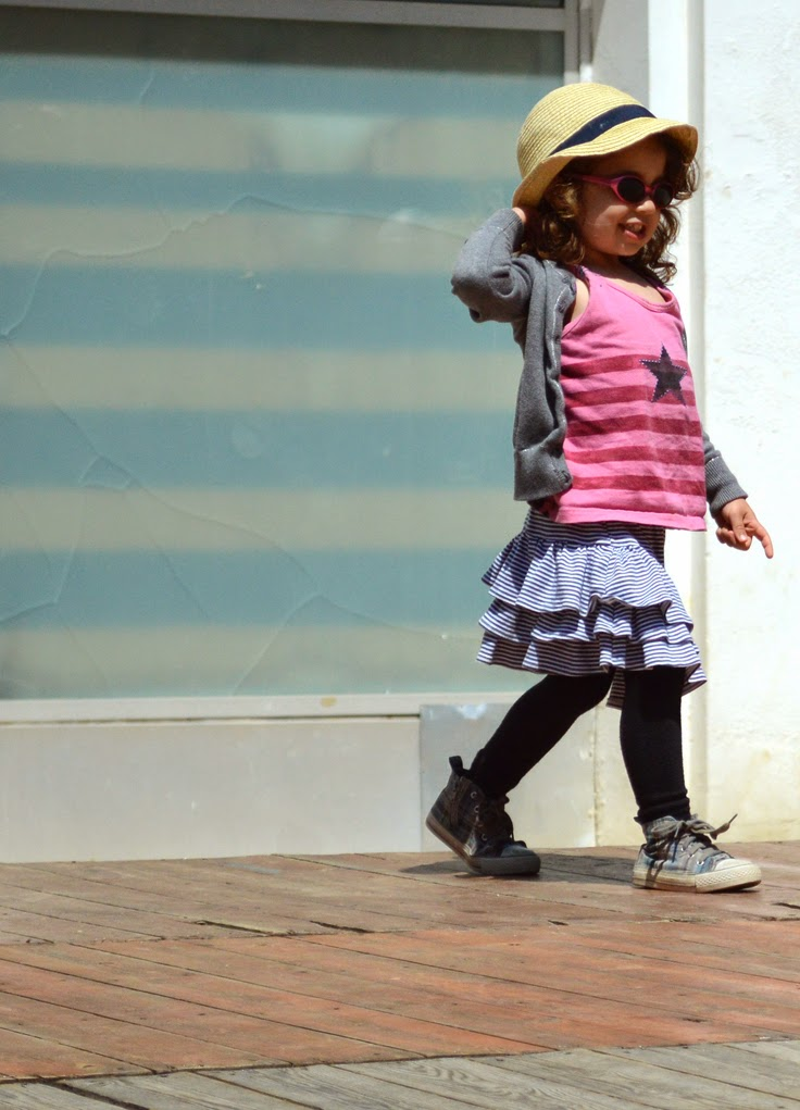 KIDdO Style: Molo Kids cardigan, vintage tank and Green Cotton skirt