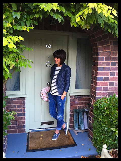 My Midlife Fashion, Boden Mariner Striped Top, Marks and Spencer faux leather quilted biker jacket, slip ons