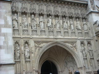 Decorative statues in front of Westminster Abbey, London, England