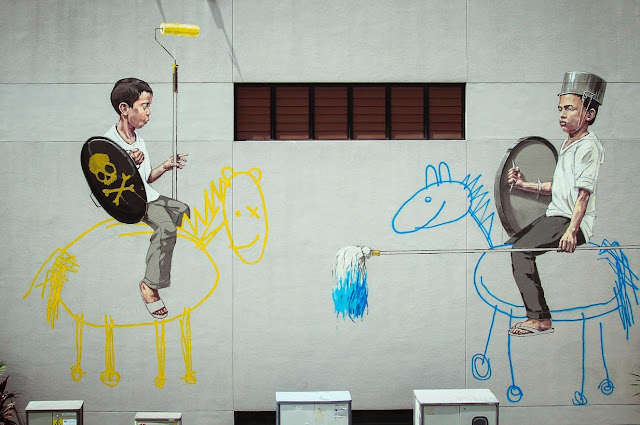 New Series Of Street Art Murals By Ernest Zacharevic On The Streets Of Singapore City (Part II). 2
