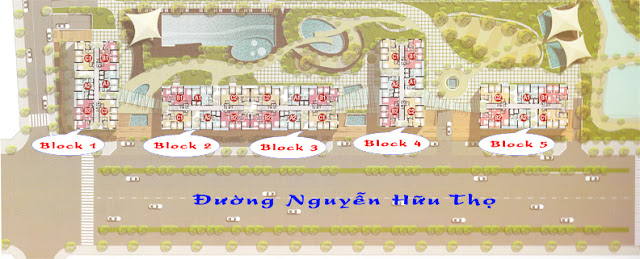 mặt bằng phân bố Block căn hộ Phú Hoàng Anh