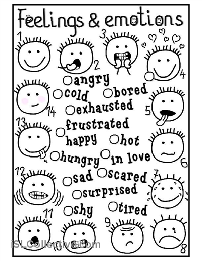 Clever image pertaining to feelings and emotions worksheets printable