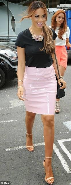 Rochelle pink vinyl skirt