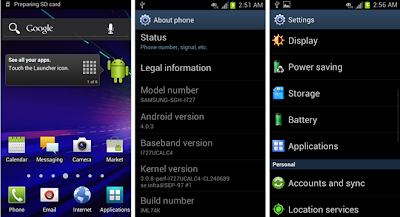 Android Ice Cream Sandwich Samsung Galaxy S II Skyrocket