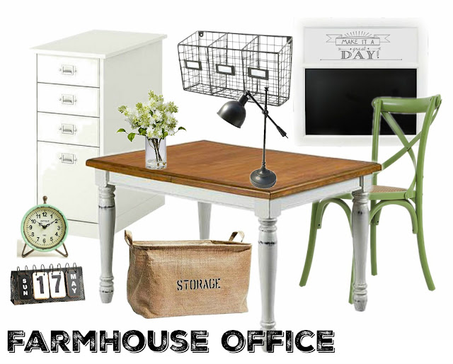 Great ideas for a farmhouse style office. In a world of clutter, it's nice to have a space that's cozy and calm!