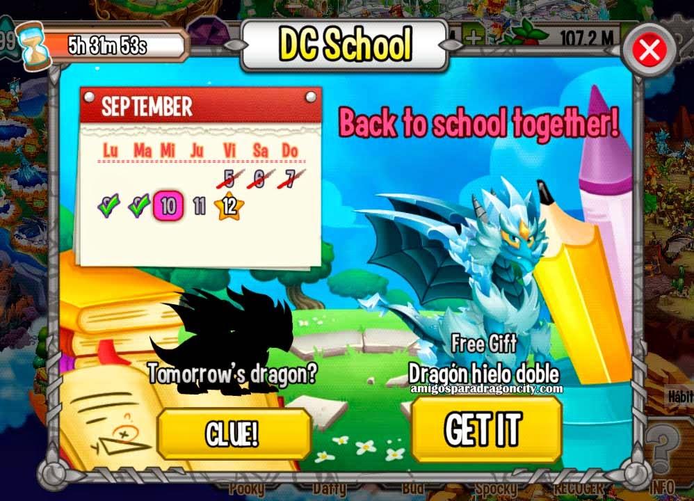 imagen del dragon hielo doble de la isla escuela de dragon city mobile