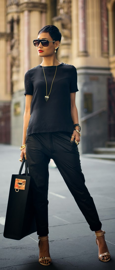 see more Amazing Outfit With a Mixture of Simple Black Shirt, Black Trousers, Big Handbag and Accesorises
