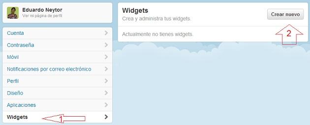 Accediendo al Widget e Twitter