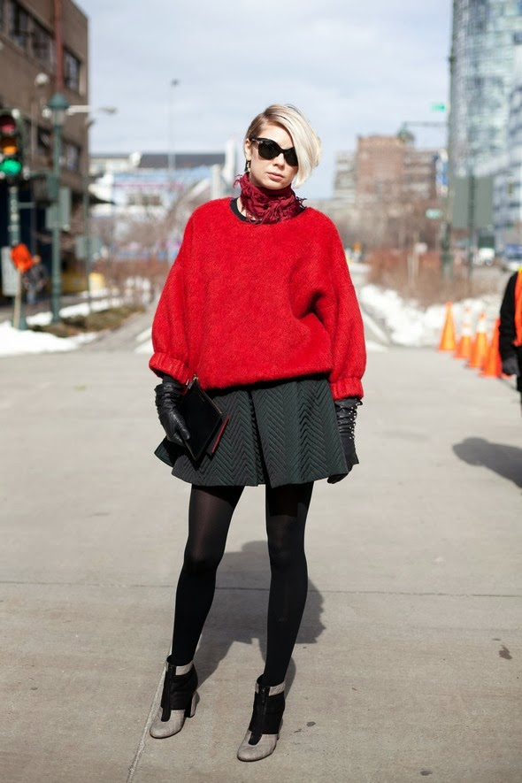 oversized red sweater short blonde hair short dress tights booties leather gloves new york street style new york fashion winter style