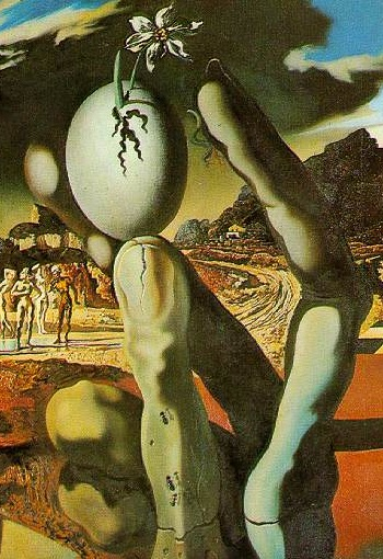 surrealisminites to the left shows the large statue that sits to the right of dying narcissus by their lake the egg is a symbol for the rebirth of their narcissus
