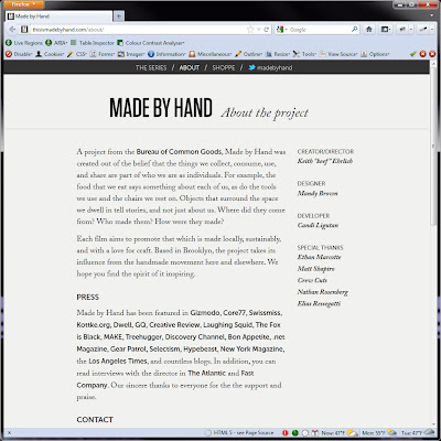 Screen shot of http://thisismadebyhand.com/about/.