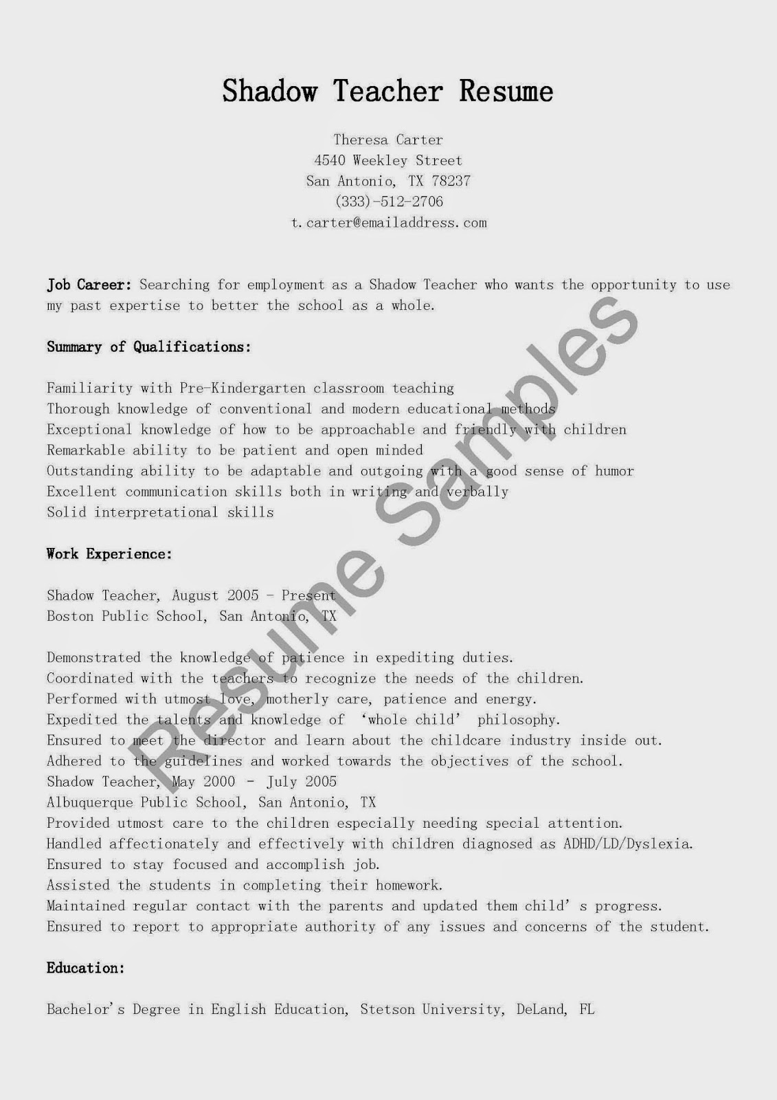 shadow teacher resume sample