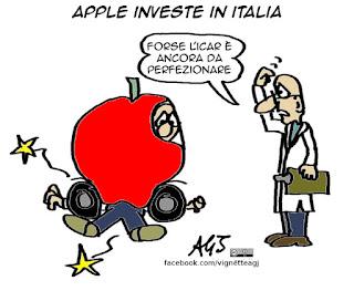 Apple, Napoli, app, vignetta umorismo