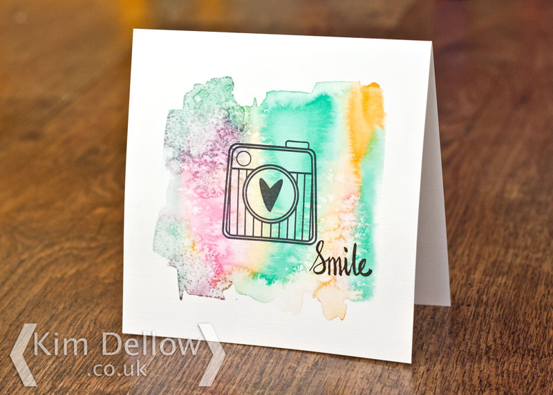 Single Layer Handmade card with watercolour and Retro Camera Stamp from Kim Dellow