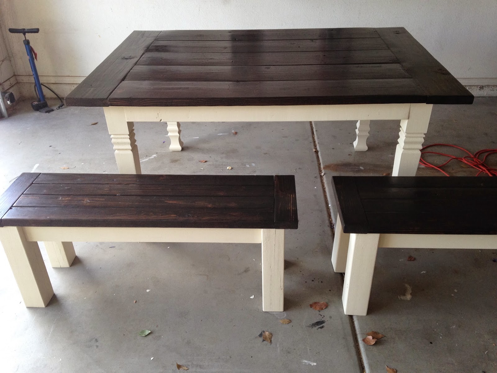 Beau Tilled Legs On Table, 4x4 Legs On Benches. Base Color   Ivory