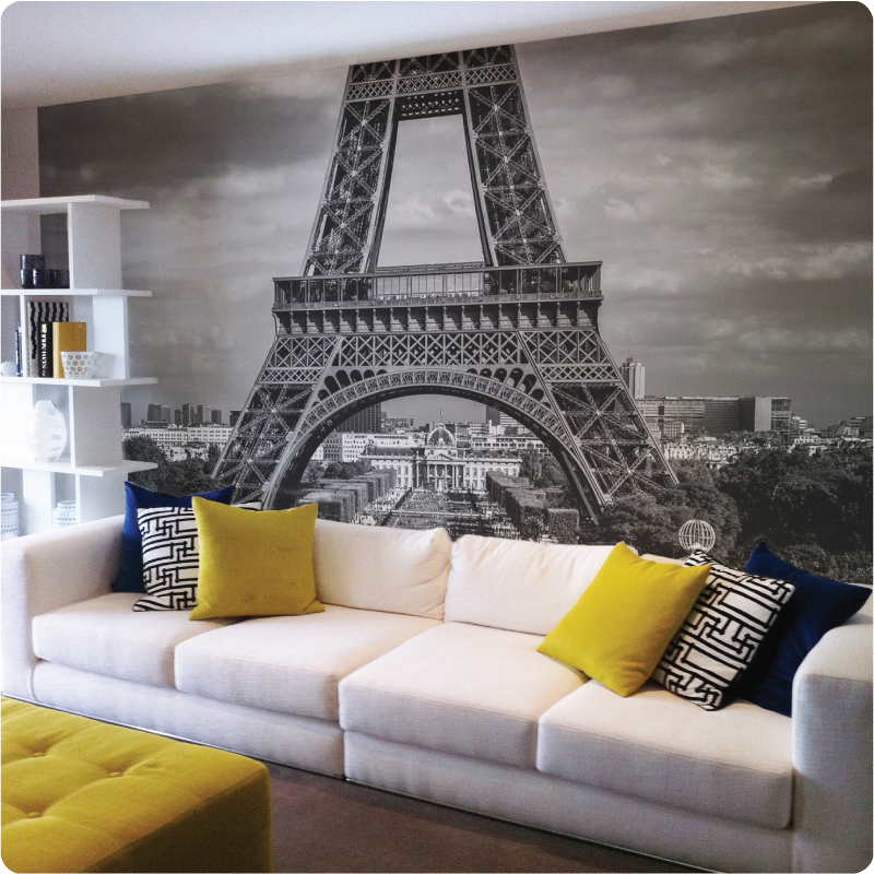 Paris paris wallpaper for bedroom for Eiffel tower wall mural black and white