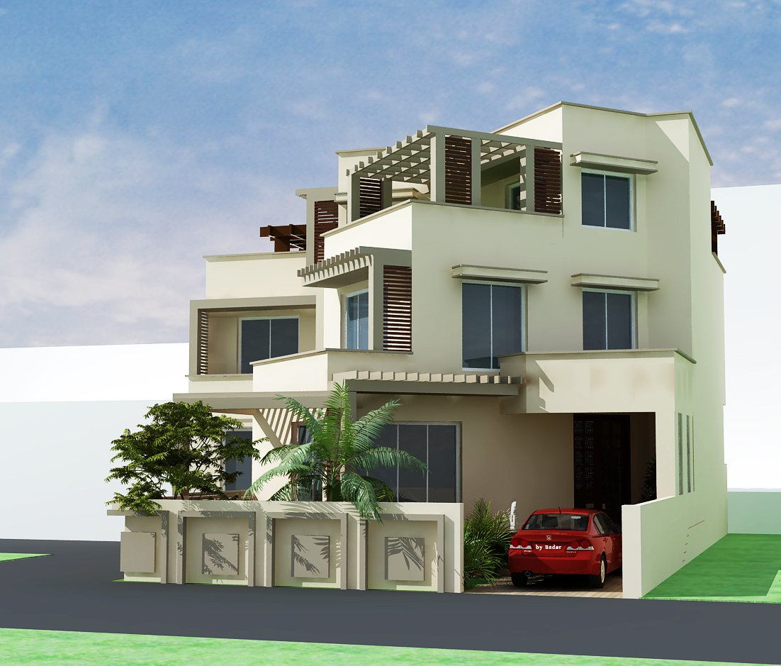 Mart 3d max models landscape design for 3 storey building front elevation