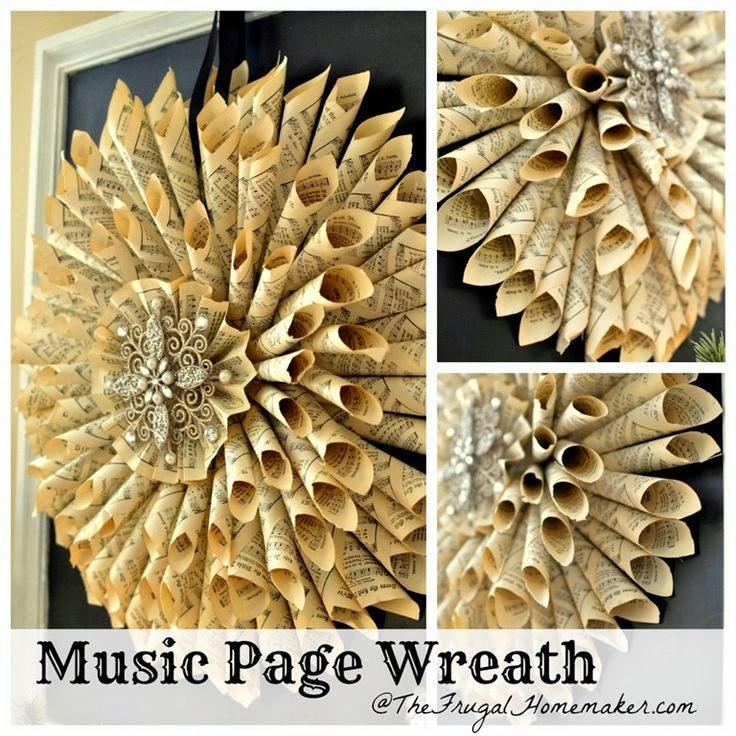 http://thefrugalhomemaker.com/2012/12/04/music-page-wreath/