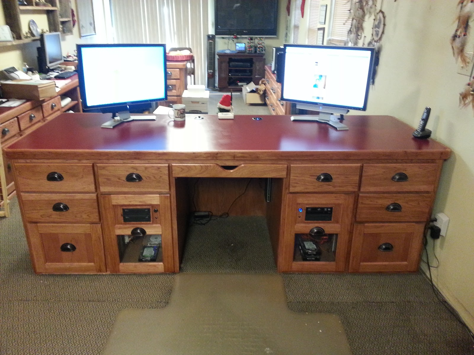 Beautiful Custom Made Hickory Wood Computer Desk! ~ Dons Deals