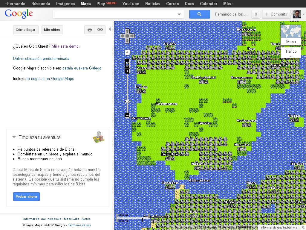 """España en 8 bits con la """"Vista de Aventura"""" de Google Maps"""