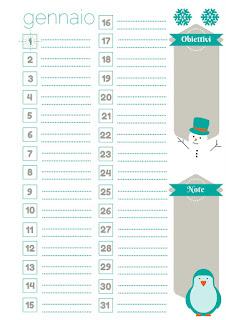 planner mensile gennaio
