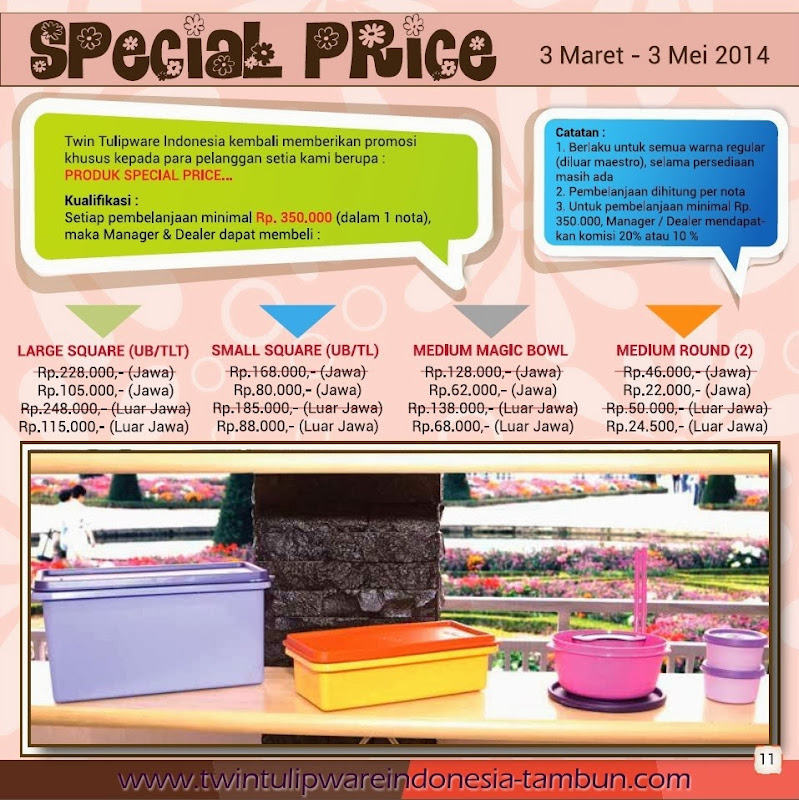 Special Price Tulipware 2014, Large Square, Small Square, Medium Magic Bowl, Medium Round
