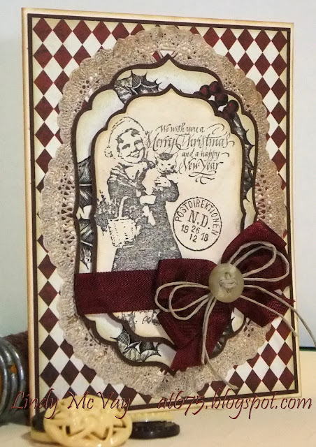 Simon Says Stamp Monday Challenge, Stampington & Company, Teresa Collins Noel Collection, Stamping, Christmas Card, Hug Snug Ribbon, Buttons, Paper Doilies, Spellbinders Labels Four, Tim Holtz, Ranger, Vintage Photo Distress Ink, Antique Linen Distress Ink, Hemp Cord, Christmas, Vintage Christmas