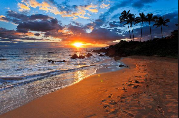 Enjoying the Sunset in Hawaii Ocean