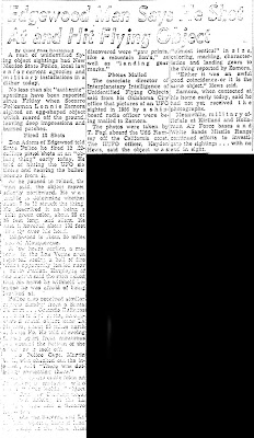 Edgewood Man Shot at and Hit Flying Object - Albuquerque Tribune (Edt) 4-28-1964