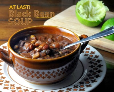At Last Black Bean Soup, Laurie Colwin's recipe. Just dump in the ingredients and cook it on the stove, in the oven or in a slow cooker.