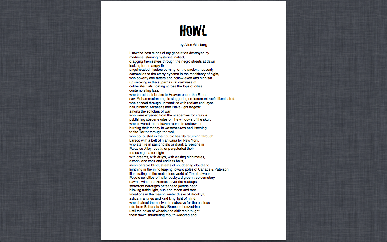 analysis of allen ginsbergs howl When i first read the poem howl, i was intrigued by ginsberg's choice of words and interesting way of talking about his generation as soon as i read the first few.