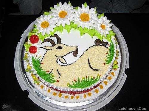 Hình ảnh bánh sinh nhật hình con dê ngộ nghĩnh