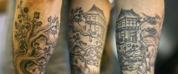japonese scene lower sleeve tattoo
