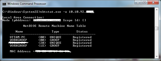 netbios remote machine name table