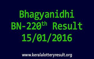 Bhagyanidhi BN 220 Lottery Result 15-01-2016